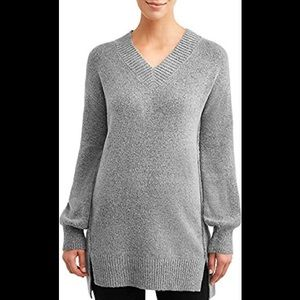 Time and Tru V-Neck Tunic Sweater Gray Size XLarge